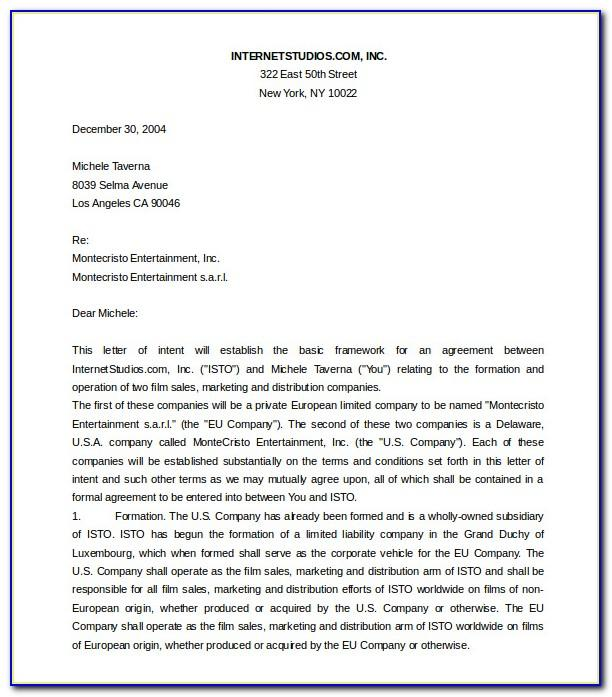 Letter Of Intent Template Ms Word