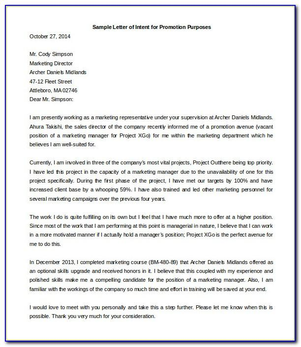 Letter Of Intent Template Uk Free