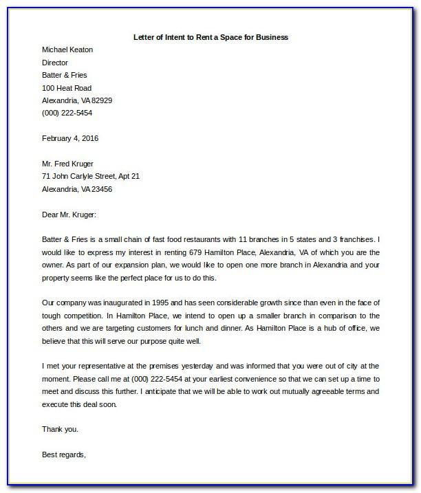 Letter Of Intent Template Word Document