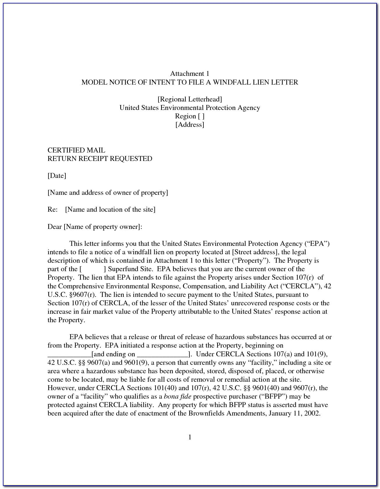 Letter Of Intent To File A Lien Template