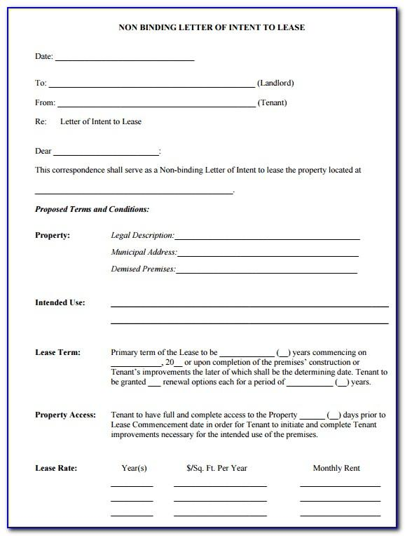Letter Of Intent To Lease Doc