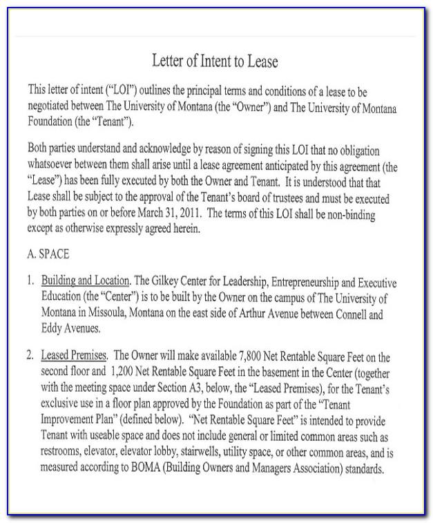 Letter Of Intent To Lease Land Sample