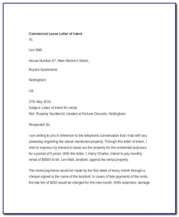 Letter Of Intent To Lease Pdf