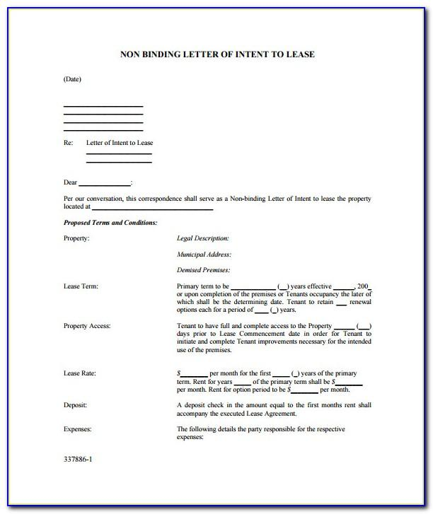 Letter Of Intent To Lease Property Sample