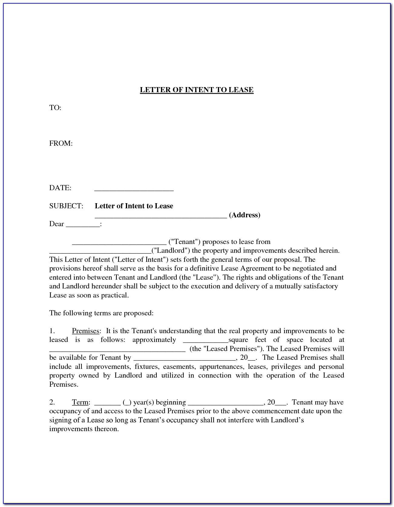 Letter Of Intent To Lease Template Word