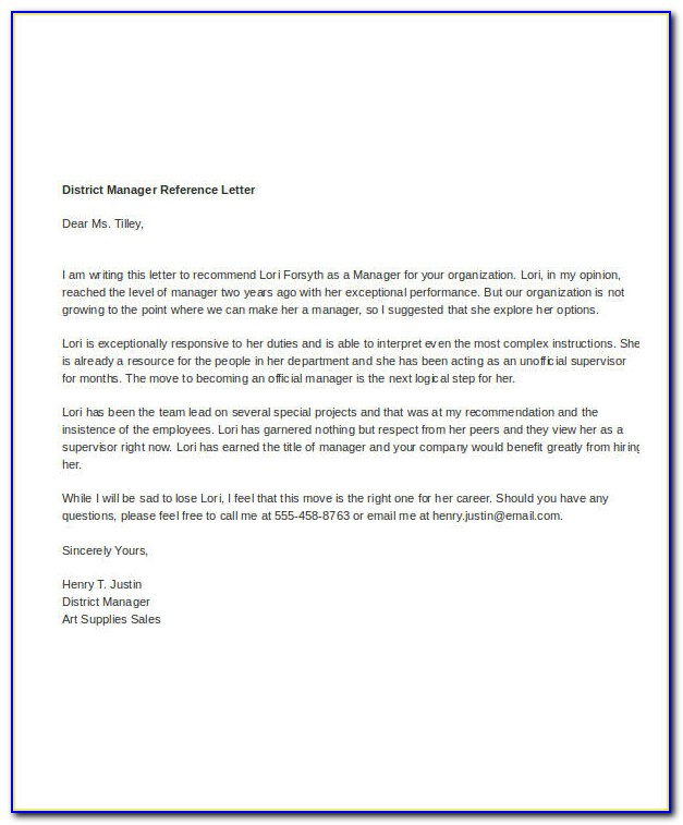 Letter Of Recommendation For Employee From Manager Template