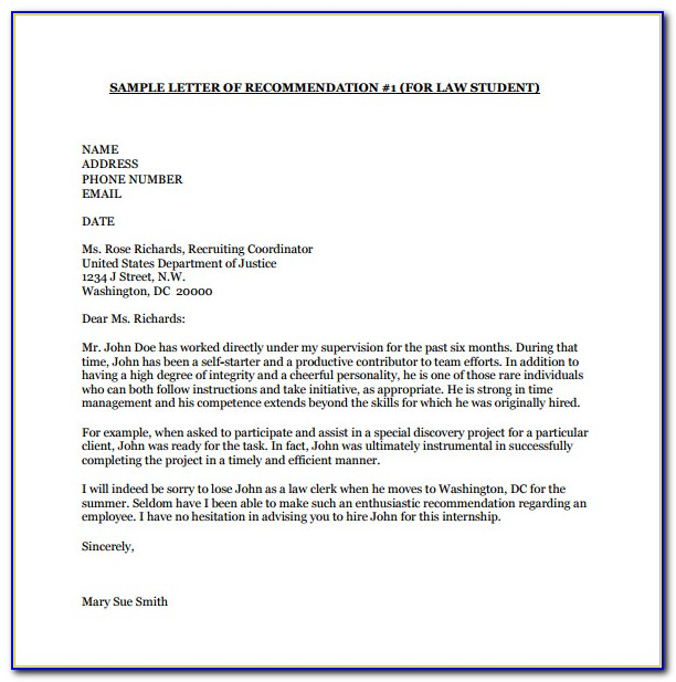 Letter Of Recommendation Template For Employee For School