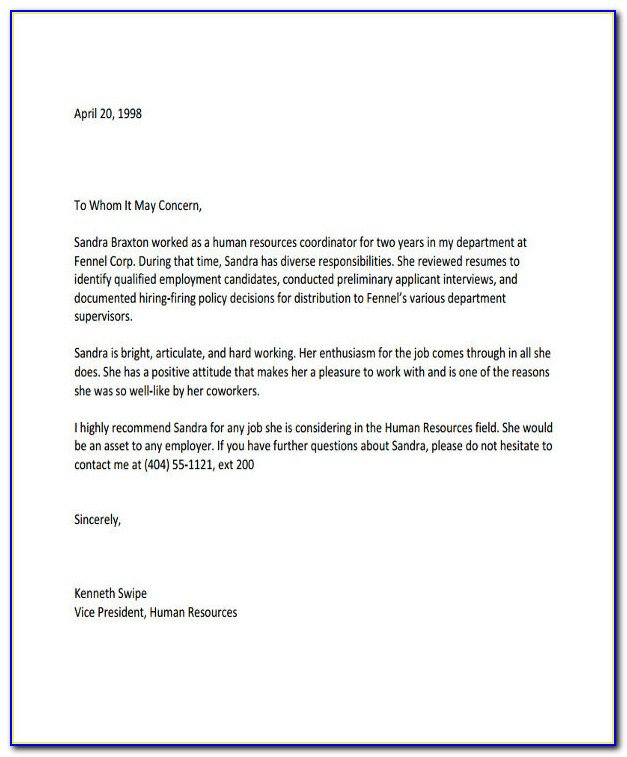 Letter Of Recommendation Template For Former Employee