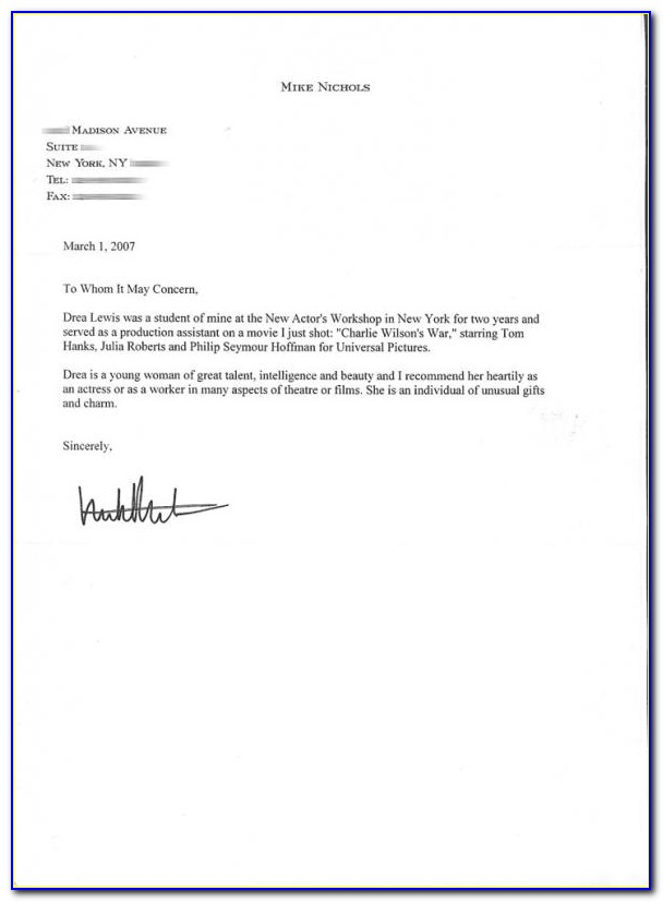 Letter Of Recommendation Template For Scholarship
