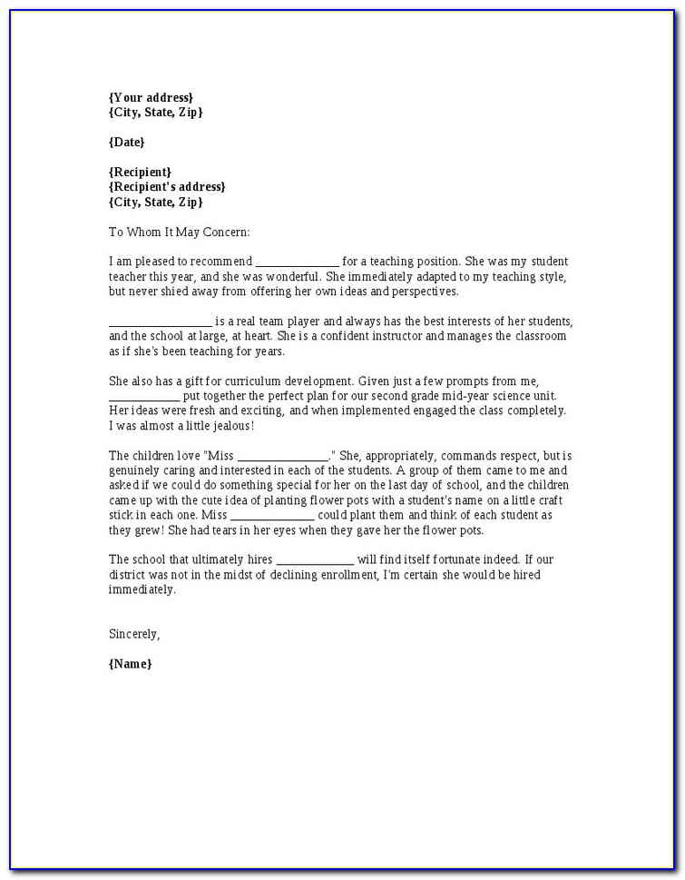Letter Of Recommendation Template For Student From Coach