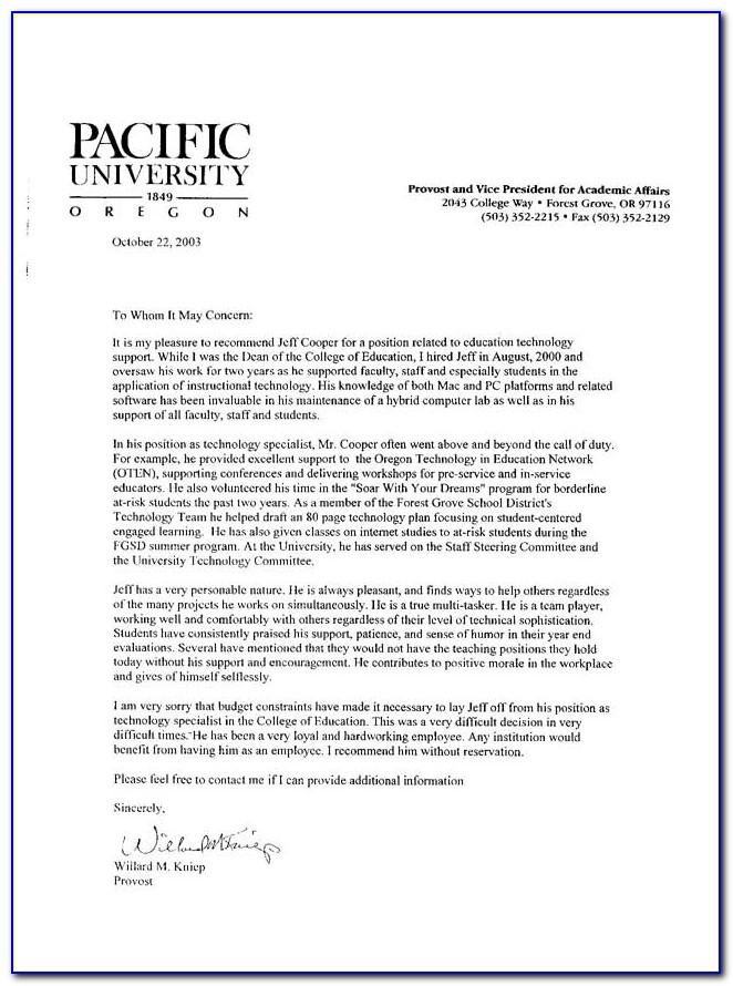 Letter Of Recommendation Template For Student Intern