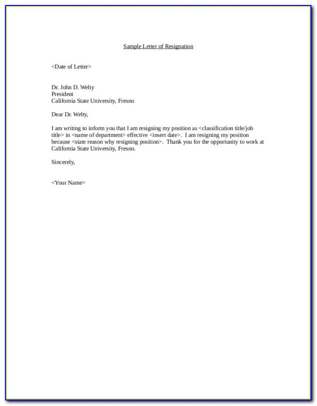 Letter Of Resignation Free Samples Download