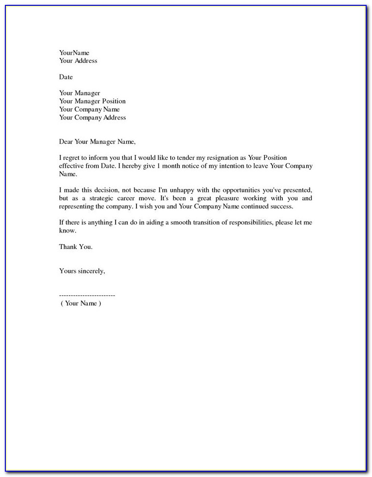 Letter Of Resignation Sample Free Download
