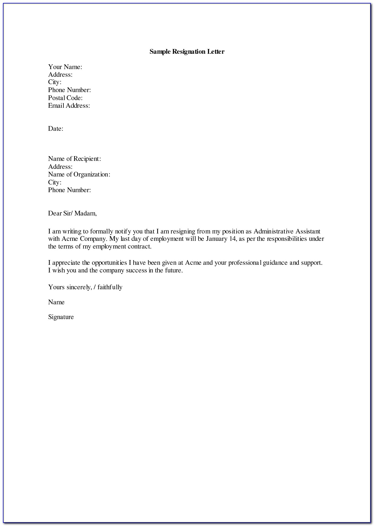 Letter Of Resignation Template Email