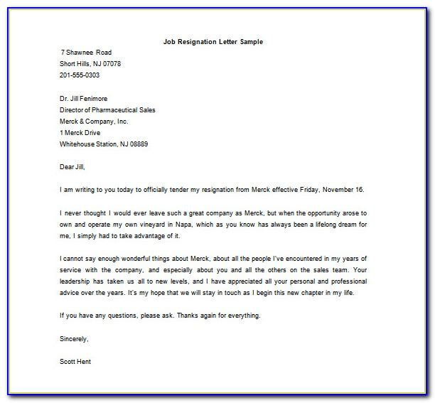Letter Of Resignation Template Microsoft Word