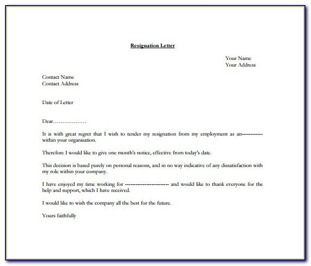 Letter Of Resignation Template Pdf
