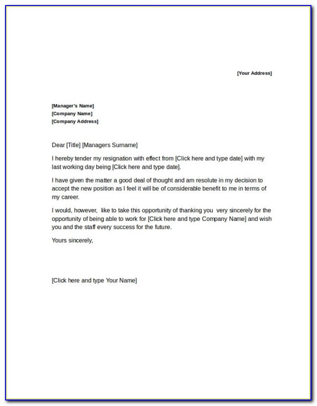 Letter Of Resignation Template Simple
