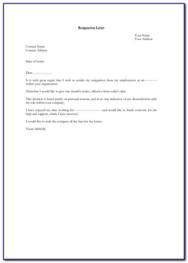Letter Of Resignation Template Teacher