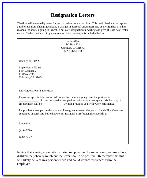 Letter Of Resignation Template Two Weeks Notice