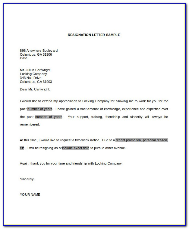 Letter Of Resignation Template Word Doc