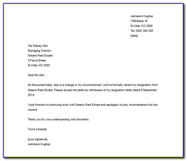 Letter Of Resignation Template Word Document