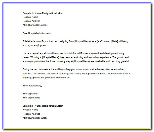 Letter Of Resignation Template Word Download