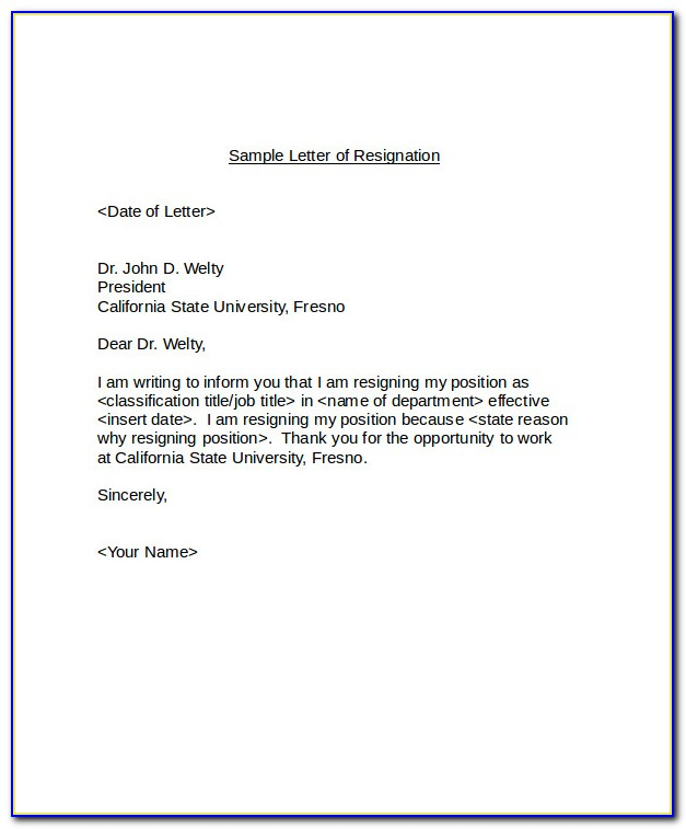 Letter Of Resignation Template Word Example