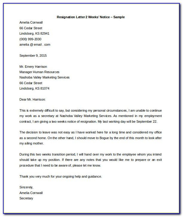 Letter Of Resignation Template Word Uk