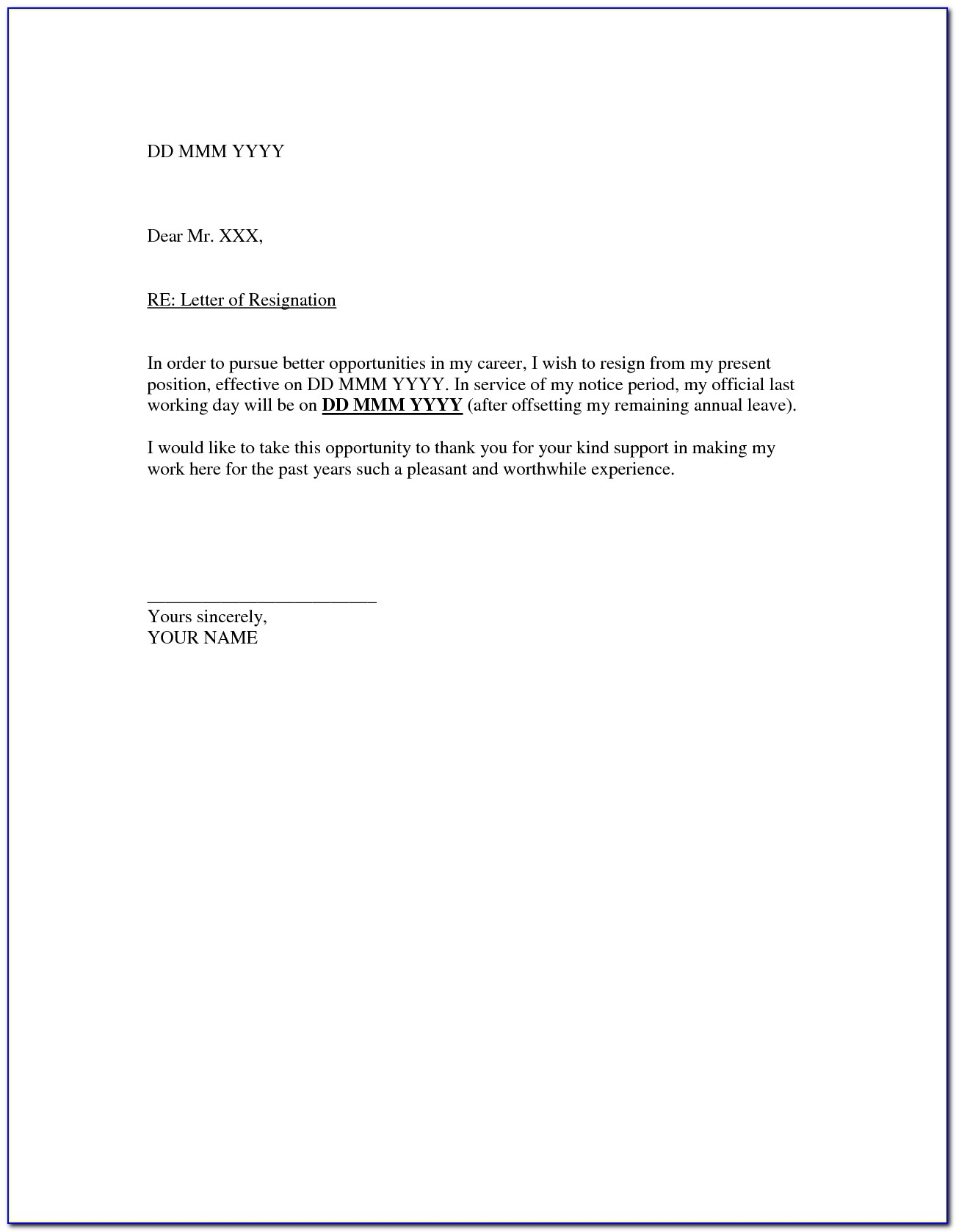 Letter Of Resignation Templates