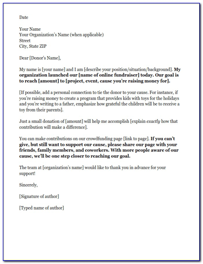 Letter Template For Nonprofits To Request Donations