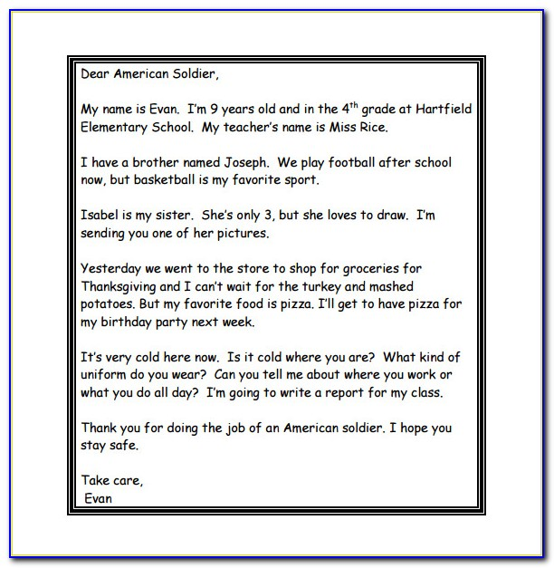 Letter To Soldier Template