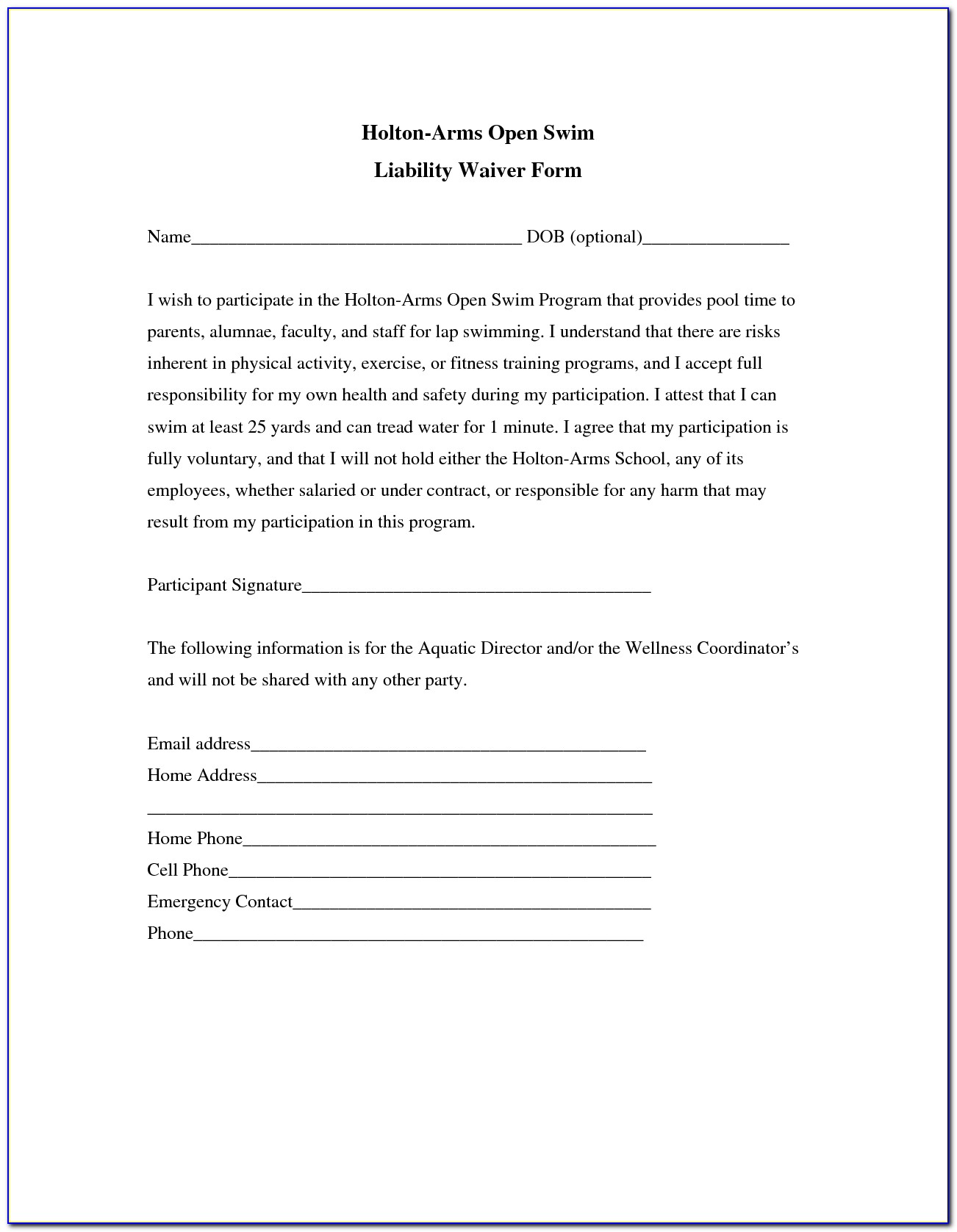 Liability Release Form Template Canada