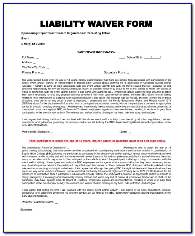 Liability Release Form Template Free