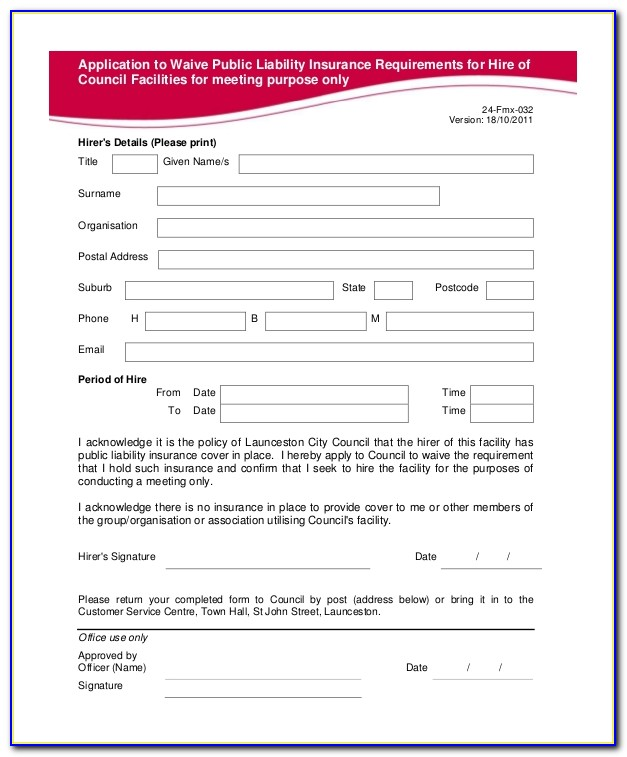 Liability Waiver Form Australia