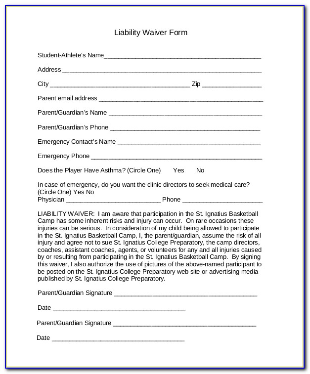 Liability Waiver Form Example