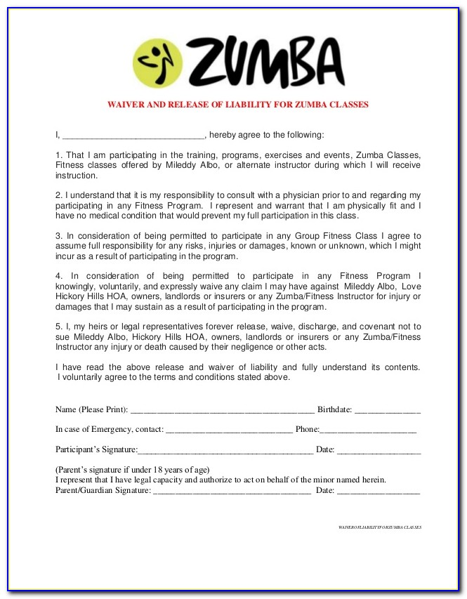 Liability Waiver Form Fitness