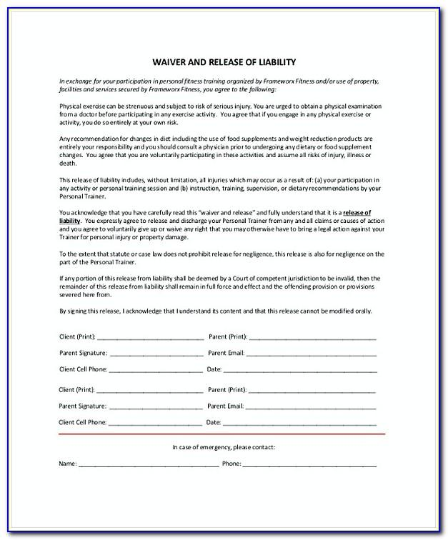 Liability Waiver Form For Personal Trainers