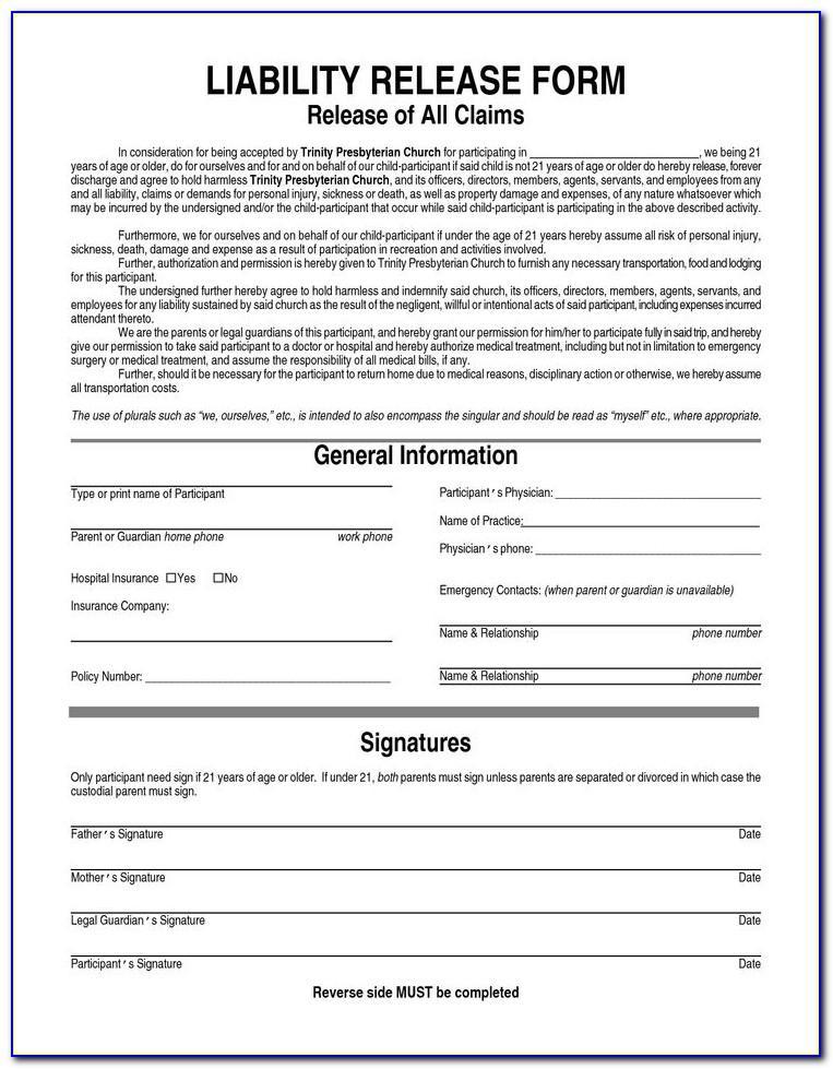 Liability Waiver Form Uk