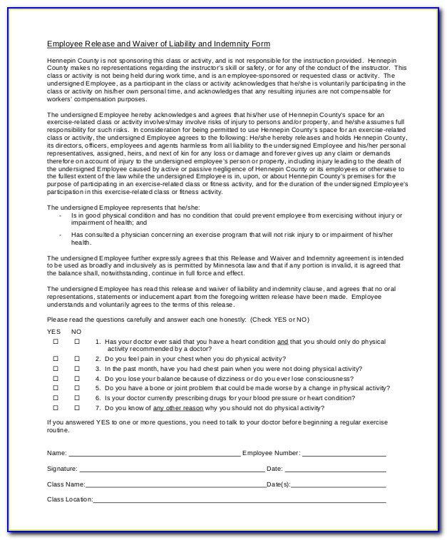 Liability Waiver Forms Printable