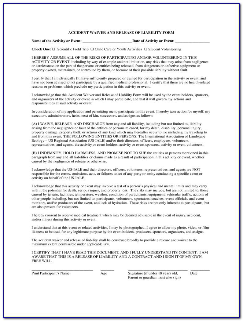 Liability Waiver Template For Fitness