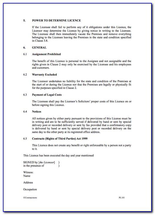 Licence To Occupy Agreement Template Free Nz