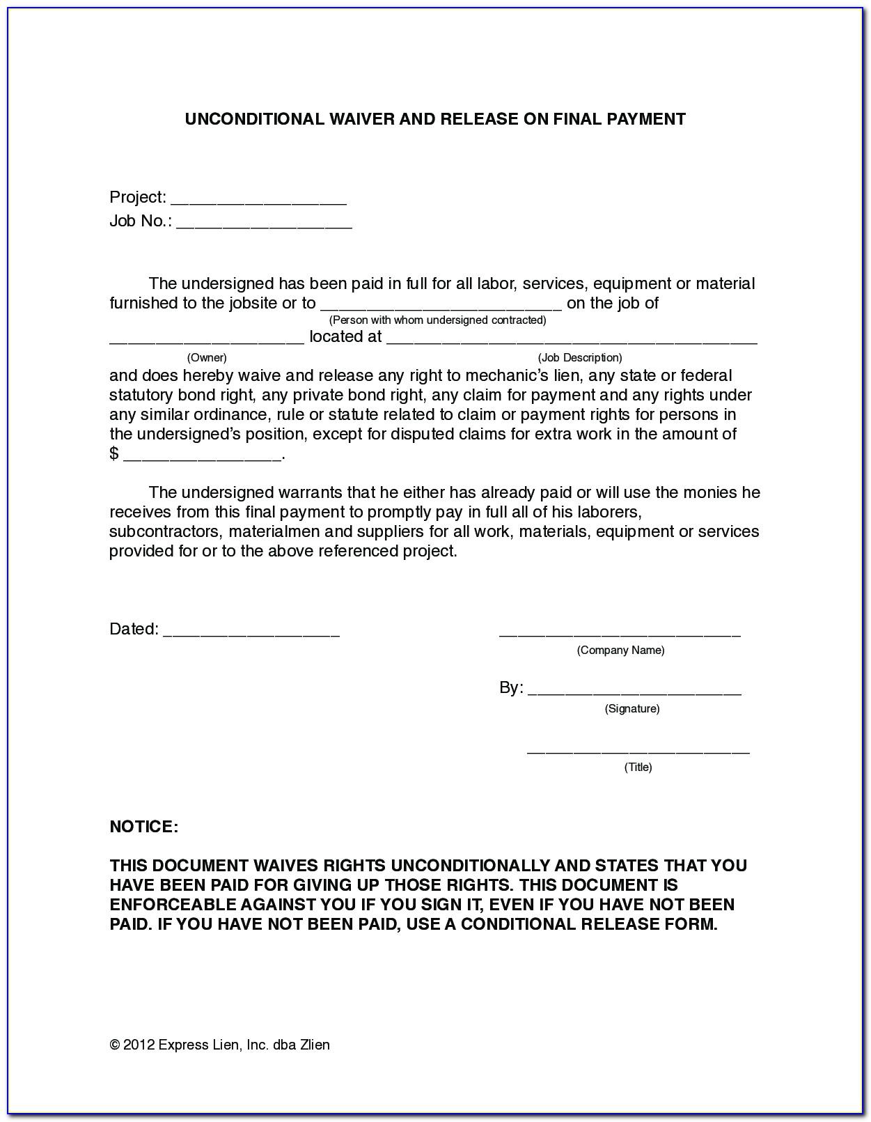 Lien Release Letter Template