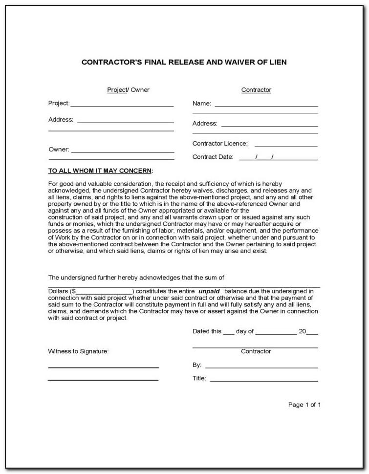 Lien Release Waiver Template