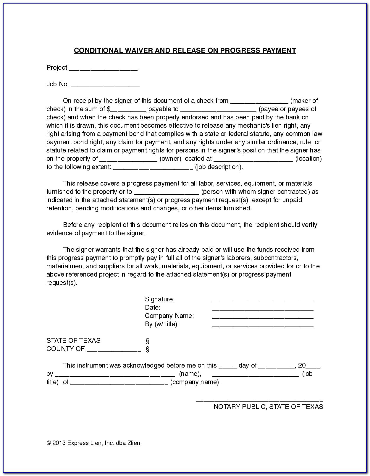 Lien Waiver And Release Form Texas