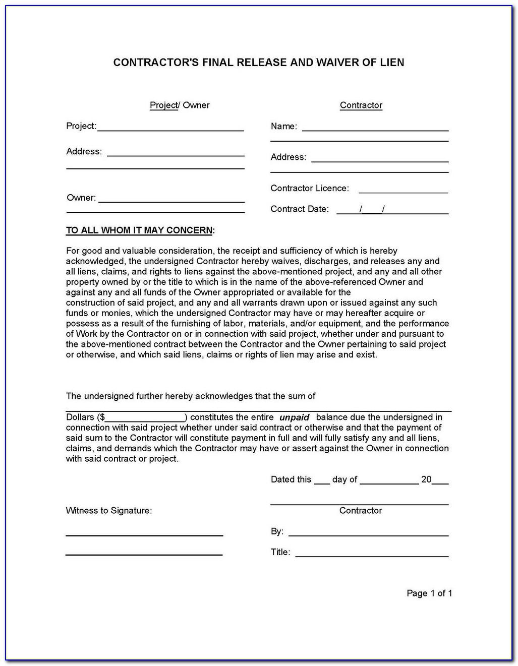 Lien Waiver Form Minnesota