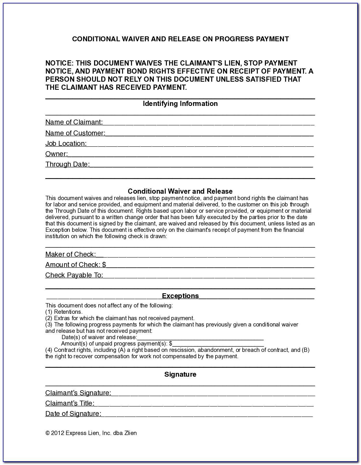 Lien Waiver Form Wisconsin