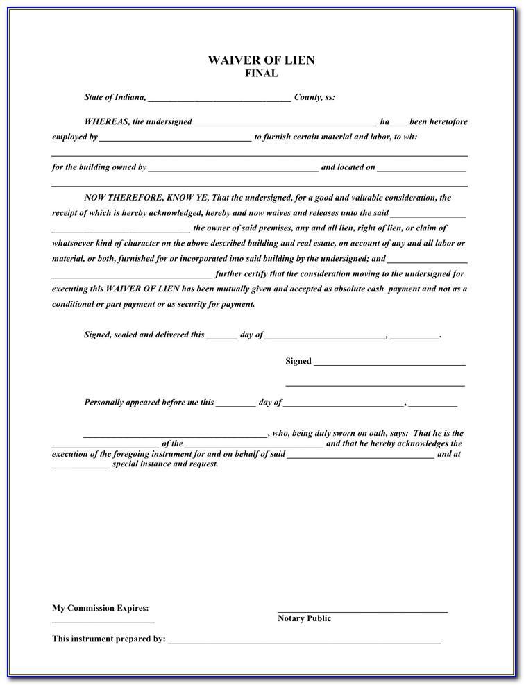 Lien Waiver Release Form Nc