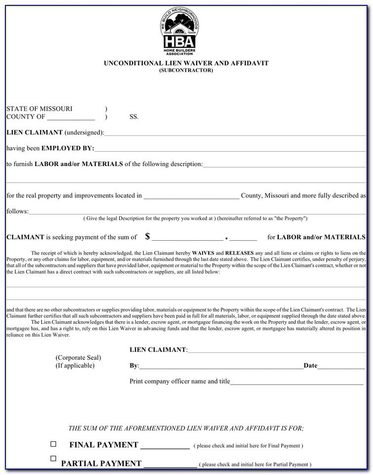 Lien Waiver Template Illinois