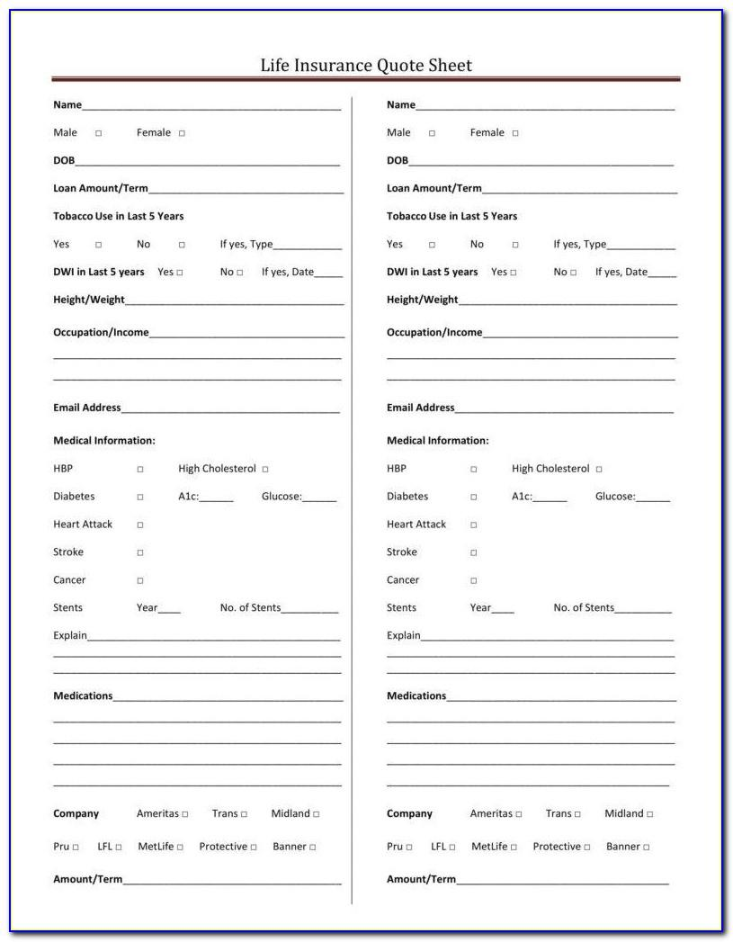 Life Insurance Quote Sheet Template