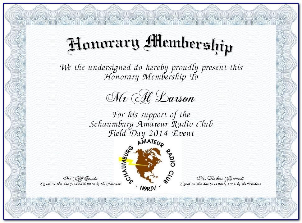 Life Member Certificate Template